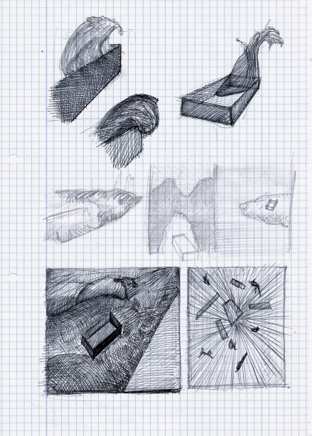 Le théatre des scizofrènes, Deconstruction of a swimming pool, grafiet en zwarte balpen op papier, 29,7cm x 21cm, 2010