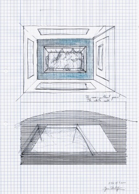 The room without grond, zwarte balpen, water- en acrylverf op papier, 29,7cm x 21cm, 2010