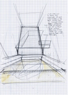 Le théatre des scizofrènes, Deconstruction of a swimming pool, zwarte balpen en waterverf op papier, 29,7cm x 21cm, 2010