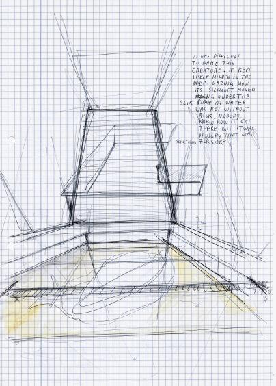 Le théatre des scizofrènes, Deconstruction of a swimming pool, zwarte balpen en waterverf op papier, 29,7cm x 21cm, 2010