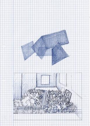 Schets voor tentoonstelling in galerie Fortlaan 17, 29,7cm x 21cm, 2010