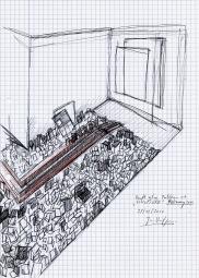 Studie voor tentoonstelling in galerie Fortlaan 17, zwarte balpen en waterverf op papier, 29,7cm x 21cm, 2010