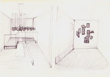 Studie naar Hélio Otticica, zwarte balpen op papier, 21cm x 29,7cm, 2010