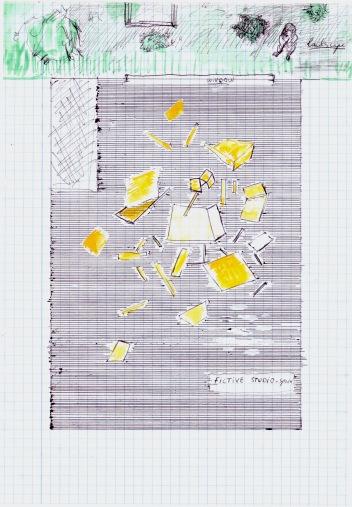 fictieve studio ruimte, waterverf en zwarte balpen op papier, 29,7cm x 21cm, 2010