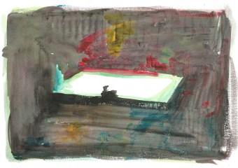 Jan_Verbruggen_100: Studie voor Zwembad, acrylverf op papier, 21cm x 29,7cm, 2011