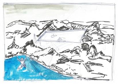 Studie voor Zwembad, zwarte inkt, acrylverf en blauwe balpen op papier, 21cm x 29,7cm, 2011