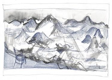 Scène met bergen, zwarte inkt, waterverf en blauwe balpen op papier, 21cm x 29,7cm, 2011