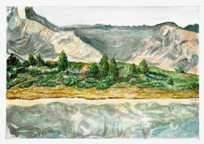 Studie voor bergmeer (pool 9), waterverf op papier, 2011