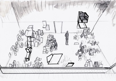 Studie voor een installatie, grafiet, zwarte balpen en waterverf op papier, 2011