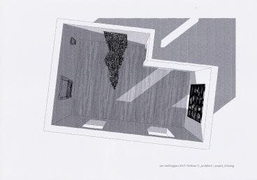 Project tekening voor tentoonstelling in galerie Fortlaan 17, grafiet en inkt op papier, 2011
