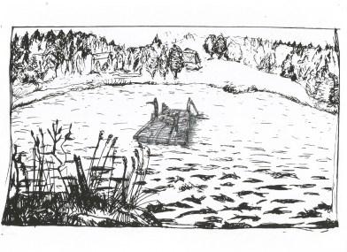 Studie voor een vlot op een meer te Hameënkyrö, inkt en zwarte balpen op papier, 2011