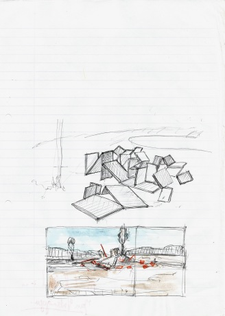 Studie voor een installatie te Hameënkyrö, zwarte balpen en waterverf op papier, 29,7cm x 21cm, 2011