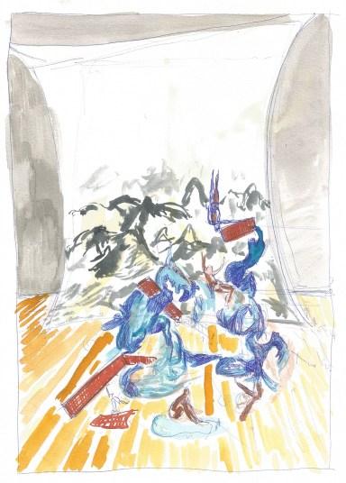 Studie voor zwembad, blauwe balpen en waterverf op papier, 2011