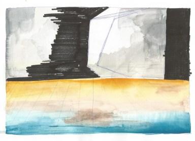 Studie voor zwembad, blauwe balpen, inkt en waterverf op papier, 2011