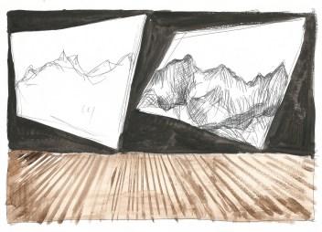 Scène, zwarte balpen en waterverf op papier, 2011