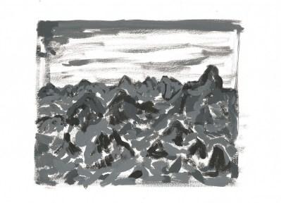 Bergen, acrylverf op papier, 2011