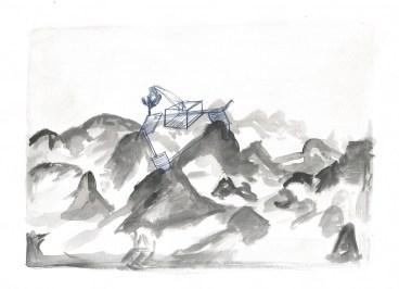 Zwembad en bergen, waterverf en blauwe balpen op papier, 2011