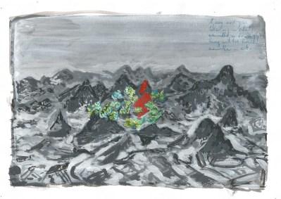 Zwembad en bergen, acrylverf op papier, 2011