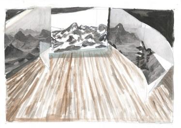Scène, collage en acrylverf op papier, 2011