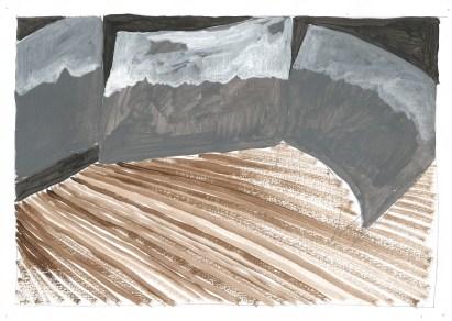 Scène, acrylverf op papier, 2011