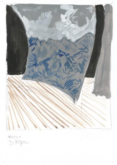 Scène, blauwe balpen en acrylverf op papier, 2011