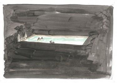Studie voor Zwembad, acrylverf en blauwe balpen op papier, 2011