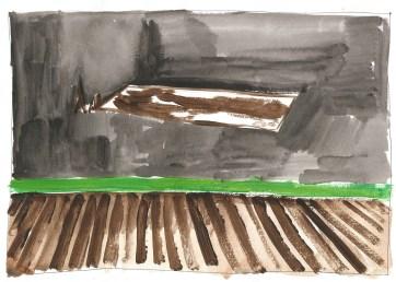 Studie voor Zwembad, acrylverf en zwarte balpen op papier, 21cm x 29,7cm, 2011
