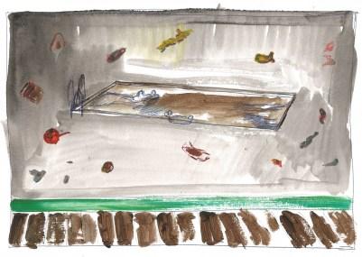Studie voor Zwembad, acrylverf en blauwe balpen op papier, 21cm x 29,7cm, 2011