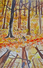 Bos met twee richtingen 2, 67cm x 42cm, olieverf op hout, 2017