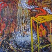 De man die het water anders liet vallen, Olieverf op hout, 67cm x 42cm, 2018