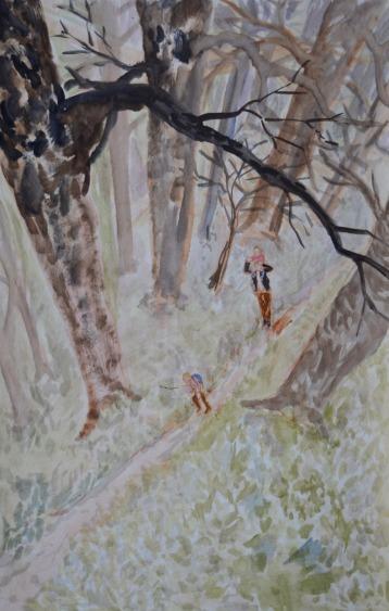 Studie voor een bos, 67cm x 42cm, olieverf op hout, 2017