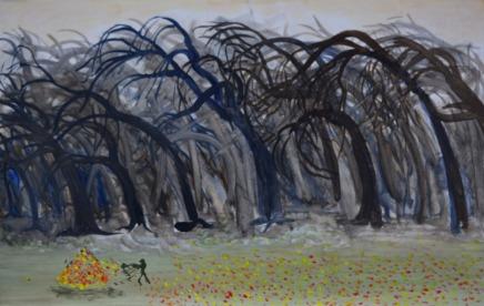 Studie voor storm in het bos, 42cm x 67cm, olieverf op hout, 2017