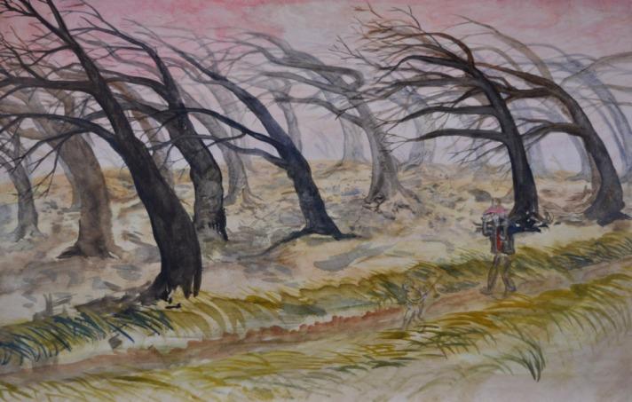 Studie voor storm in het bos 2, 42cm x 67cm, olieverf op hout, 2017