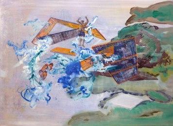 """""""Parachute"""", 50cm x 70cm, waterverf, acrylverf en olieverf op doek, 2012"""