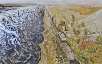 Studie voor golf, Olieverf op paneel, 42cm x 67cm, 2018