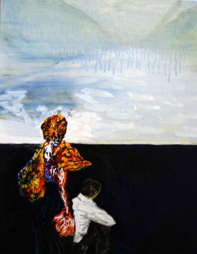 Map nr.23 Two people watching a faded away landscape, 24cm x 30cm, Oil on cardboard, 2007