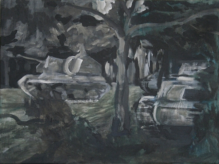 The Will To Score 2, tank 10, 40cm x 50cm, Acrylics on canvas, 2006