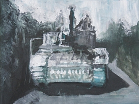 The Will To Score 2, tank 2, 40cm x 50cm, Acrylics on canvas, 2006