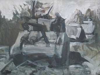 The Will To Score 2, tank 7, 40cm x 50cm, Acrylics on canvas, 2006