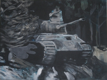 The Will To Score 2, tank 9, 40cm x 50cm, Acrylics on canvas, 2006