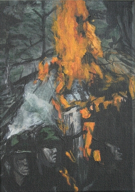 We burned a target, 18cm x 13cm, Acrylics on canvas, 2006