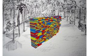 Studie voor Nomad, The Deconstruction of Place, zwarte balpen en waterverf op papier gecombineerd met digitale tekening, 2010