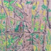 Into the Trees (91A), 27cm x 21cm, Acrylic paint on wood, 2015
