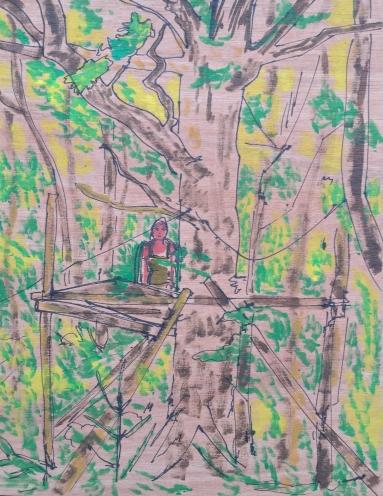 Into the Trees (91A), 27cm x 21cm, Acrylic paint on wood, 2015