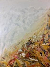 De vrouw die naar boven bleef klimmen (versie 3), 144cm x 108cm, olieverf op doek, 2019