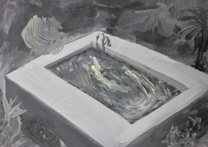 Nachtzwemmers (60A) , 21cm x 29cm, Oil on wood, 2014