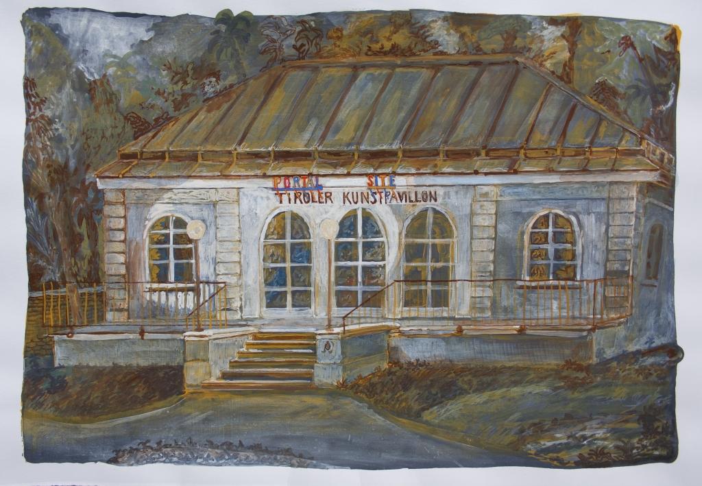 """""""Tiroler kunstpavillion - Portal Site"""", 35cm x 50cm, Gouache on paper, 2021"""